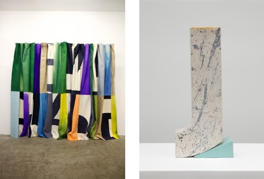 Left: Pia Camil -Espectacular Telon IV, 2013, Hand dyed and stitched canvas, 265 X 594 cm / Right: Pia Camil - Fragmento 0, 2014, Enameled low temperature ceramic, 70.2 x 24.8 x 14 cm 9.5 x 20.3 x 15.2 cm