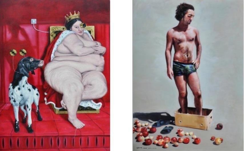 Left: Ali Esmaeillou - 7 days simplicity, 2014, oil on canvas, 130x180cm / Right: Zahra Shafie - Curiosity of Eve, 2014, Oil on canvas, 185x135cm