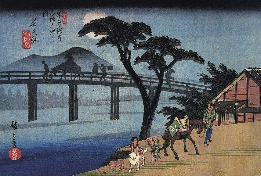 Definition and examples of asymmetrical balance in art in Hiroshige paintings