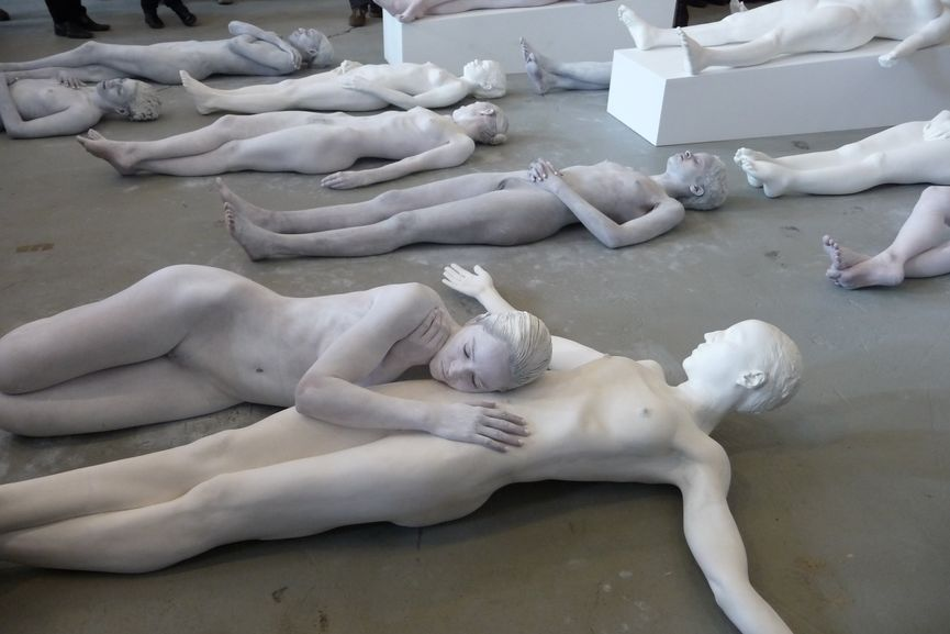 Vanessa Beecroft performance event taking place during Art Basel Miami Beach