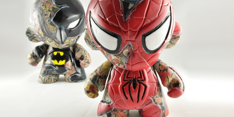 VISEone - Spiderman, 7'' Munny custom,  'COMIC STRIPPED' SERIES, 2011