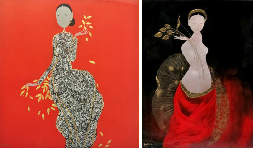 - Charming Girl (Left) - Admire the Lotus (Right), Images via greenpalmgallerycom facebook