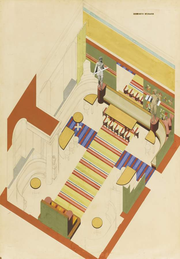 Vasily Dmitrievich Ermilov-Design For A Recreation Room In The Kharkov Palace Of Pioneers And Octobrists-