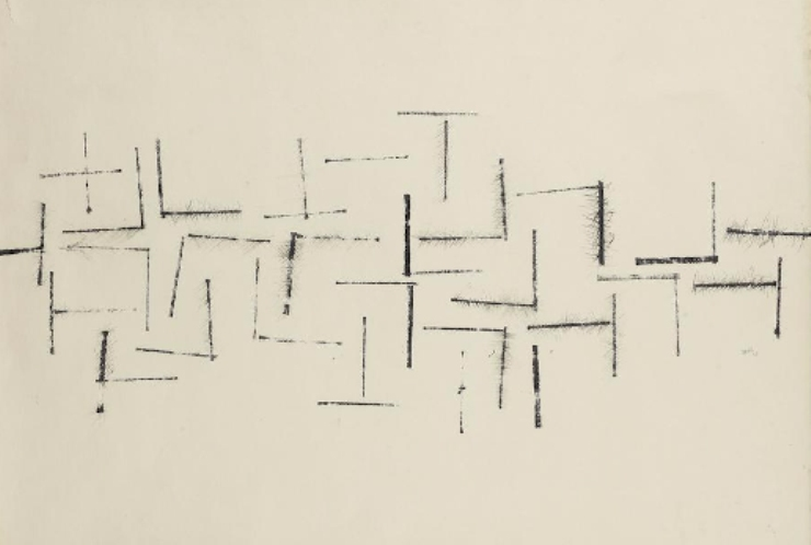 Vasudeo S. Gaitonde - Composition No.4 (Lot 32). Estimated at $30,974-$46,460; sold for $185,842