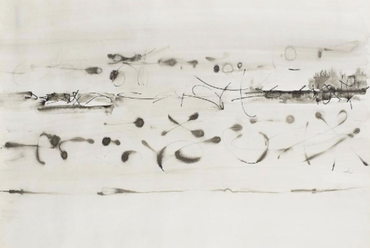 Vasudeo S. Gaitonde - Composition No.5 (Lot 33). Estimated at $30,974-$46,460; sold for $201,328