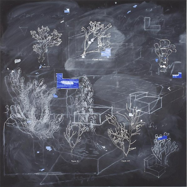 Vernon Fisher - Under the Deep, Deep Sea, 2011, multilayered, mixed media