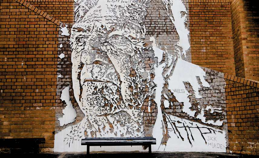 A picture of a untitled piece made by the artist Vhils in Sydney
