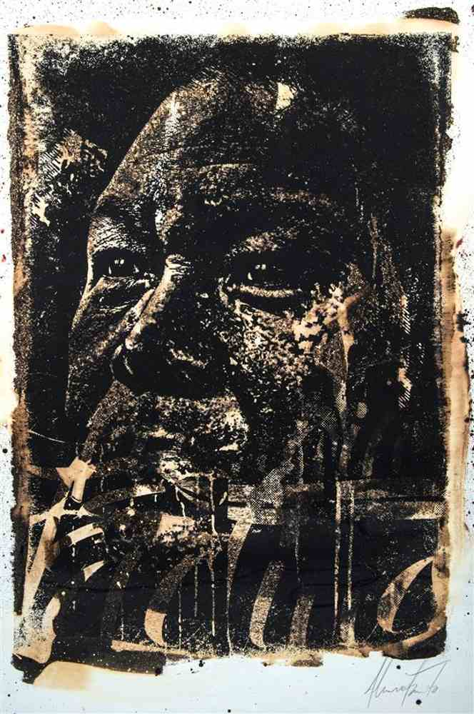 Vhils-Ink and bleach on screenprint-