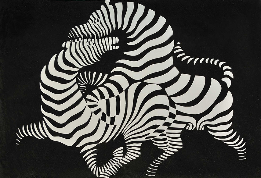 vasarely  victor untitled  victor contact  vasarely victor  victor graphic  abstract 1970 new untitled composition request sculpture Victor Vasarely - Zebra, 1938 - image via charlotteformosa.com