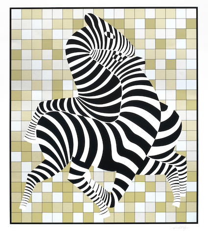 Victor Vasarely-Zebras (Gold and Silver)-