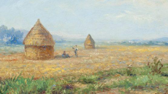 Victor Vignon (1847-1909) Champ de blé avec les mueles