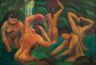 Victorio Edades-Women Bathing by a Waterfall-1953