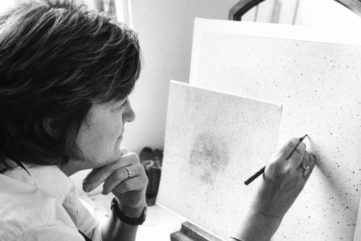 Vija Celmins - Photo of her in a museum visit- Image courtesy of the use terms com