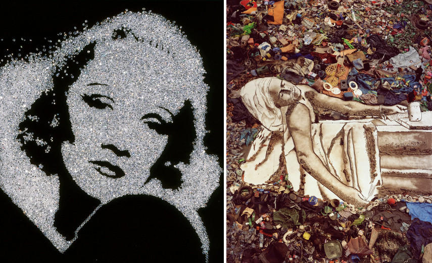 Marlene Dietrich, from the series Pictures of Diamonds, 2004 / Marat (Sebastião,) from the series Pictures of Garbage, 2008-11