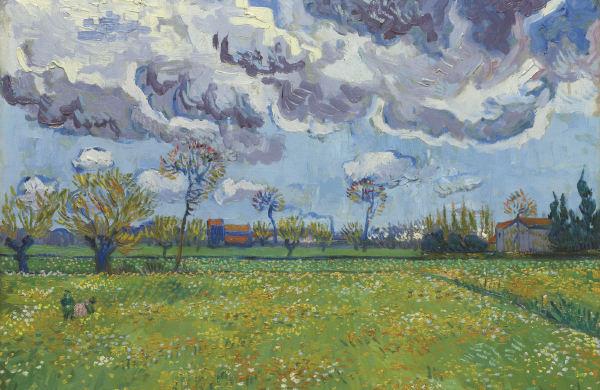 Vincent van Gogh-Paysage sous un ciel mouvemente-1889