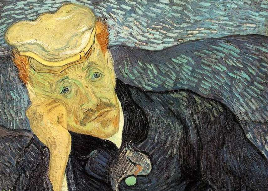 Vincent van Gogh - Portrait of Dr. Gachet, (detail) 1890