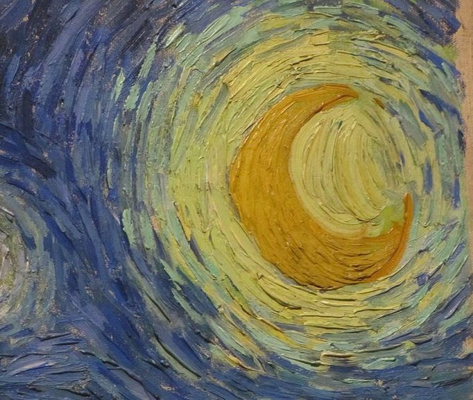 where is Starry Night painted by Vincent van Gogh, like in detail