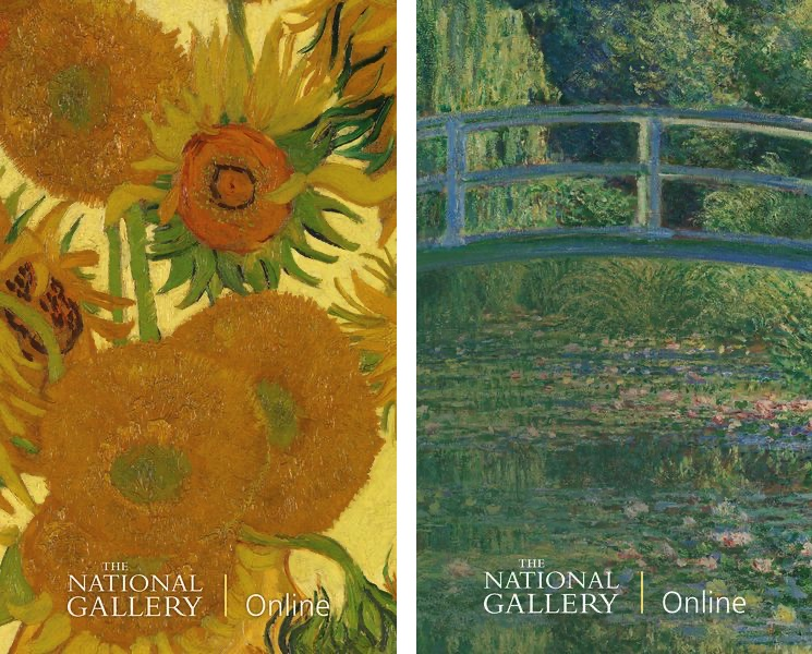 Vincent van Gogh, Sunflowers (detail), 1888 Claude Monet, The Water-Lily Pond (detail), 1899
