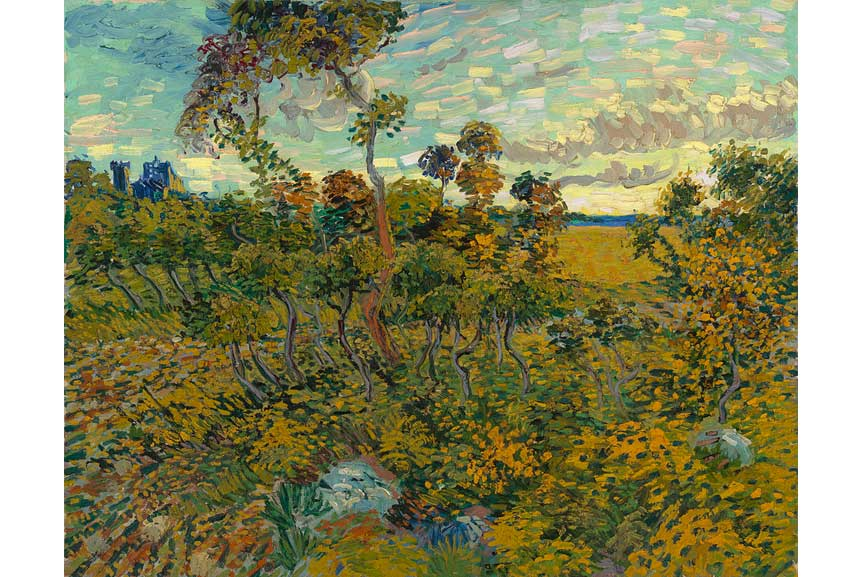silhouette of the sunset in this vibrant landscape canvas is an original painting by van gogh.