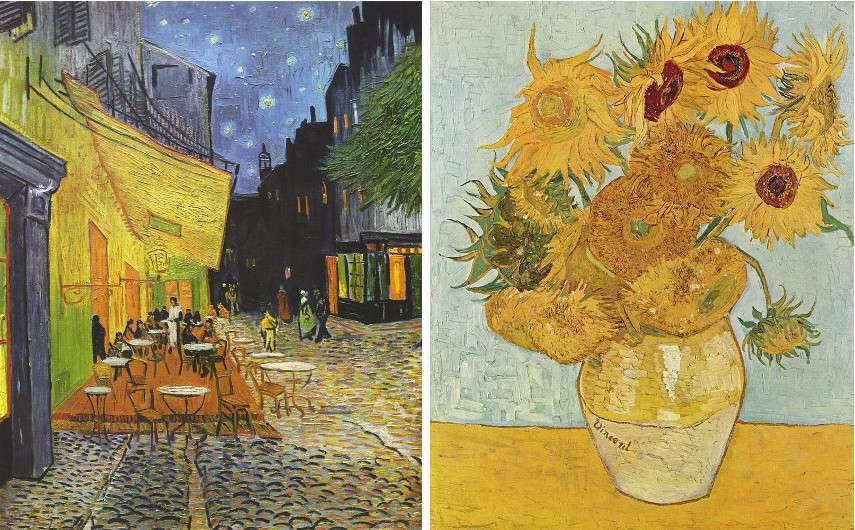 Vincent van Gogh - The Café Terrace on the Place du Forum, Arles, at Night, 1888 (left) - Still Life Vase with Twelve Sunflowers, 1888 (right)