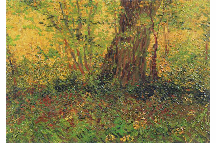 Pointillism painting by Vincent van Gogh - Undergrowth, 1887