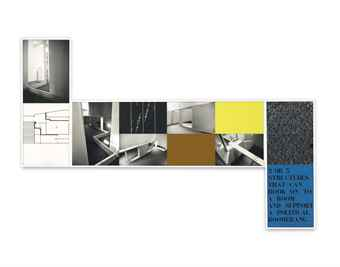 Vito Acconci-Two or three structures that can hook on to a room and support a political boomerang-1979
