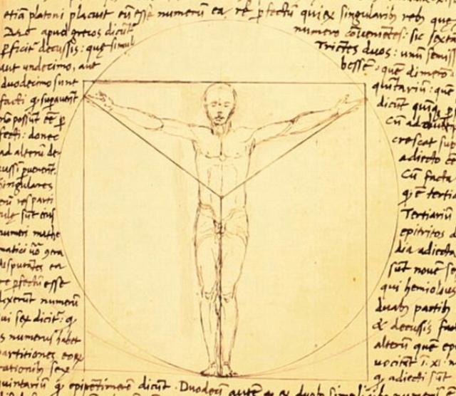 Vitruvian Man prototype by Giacomo Andrea de Ferrara, 1490 or earlier, famous Renaissance work on the subject