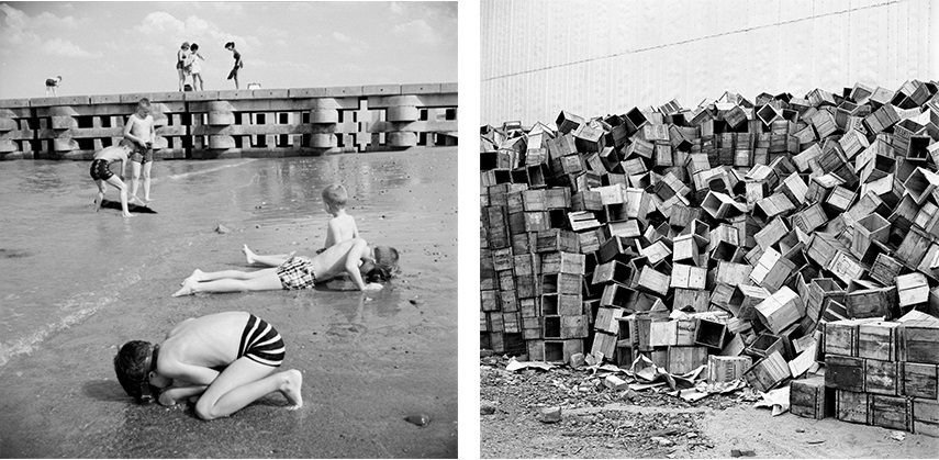 Left: Vivian Maier - Kids digging for clams, 1963 / Right: Vivian Maier - Stacks of boxes