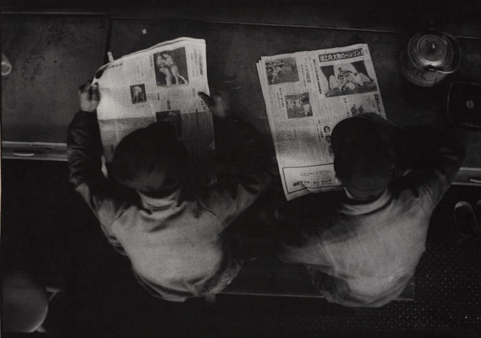 W. Eugene Smith-Two Men Reading Newspapers, Hitachi, Japan-1962
