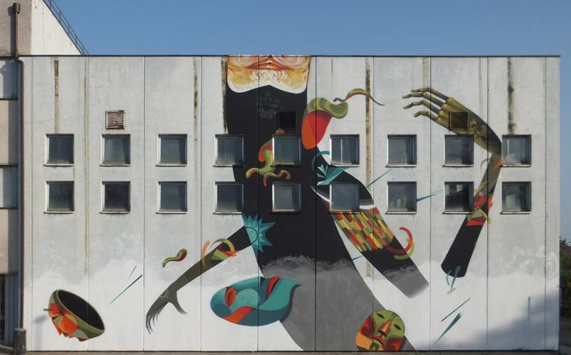 Danny Figueroa Masks mural Sketchmate Festival 2014