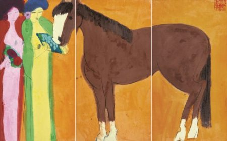 Walasse Ting-Two Girls With Red Ochre Horse-1980