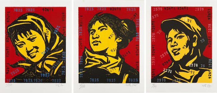 Wang Guangyi-The Belief: Girl No. 4, 5 & 6-2006