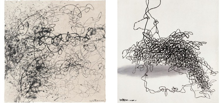 Left: Wang Huangsheng - Moving Visions Series No.64, 2012 / Right: Wang Huangsheng - Moving Visions No. 2, 2012, painting
