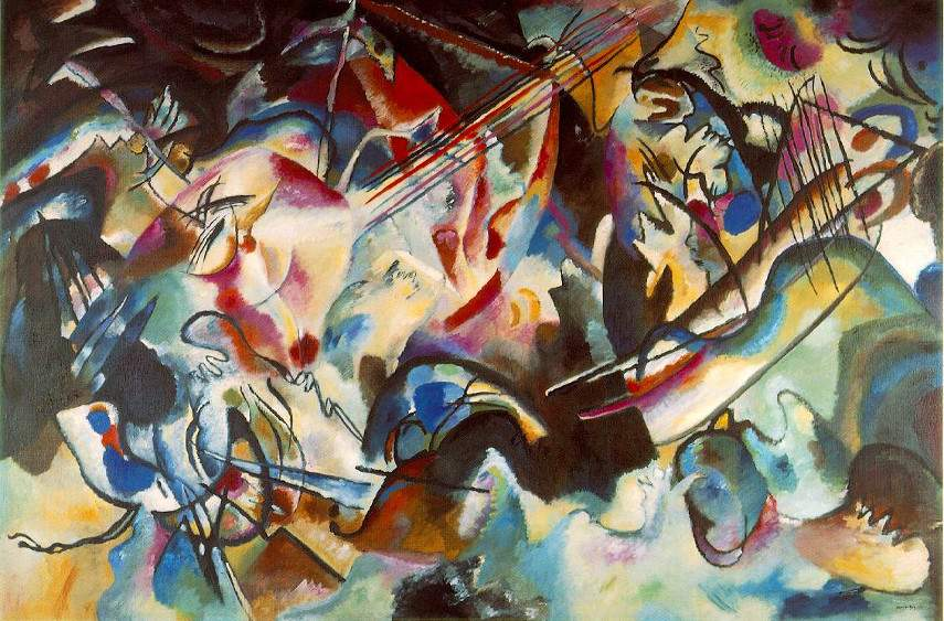 Wassily Kandinsky - Composition 6, 1913 - abstract blue work forms style painting works moscow paintings