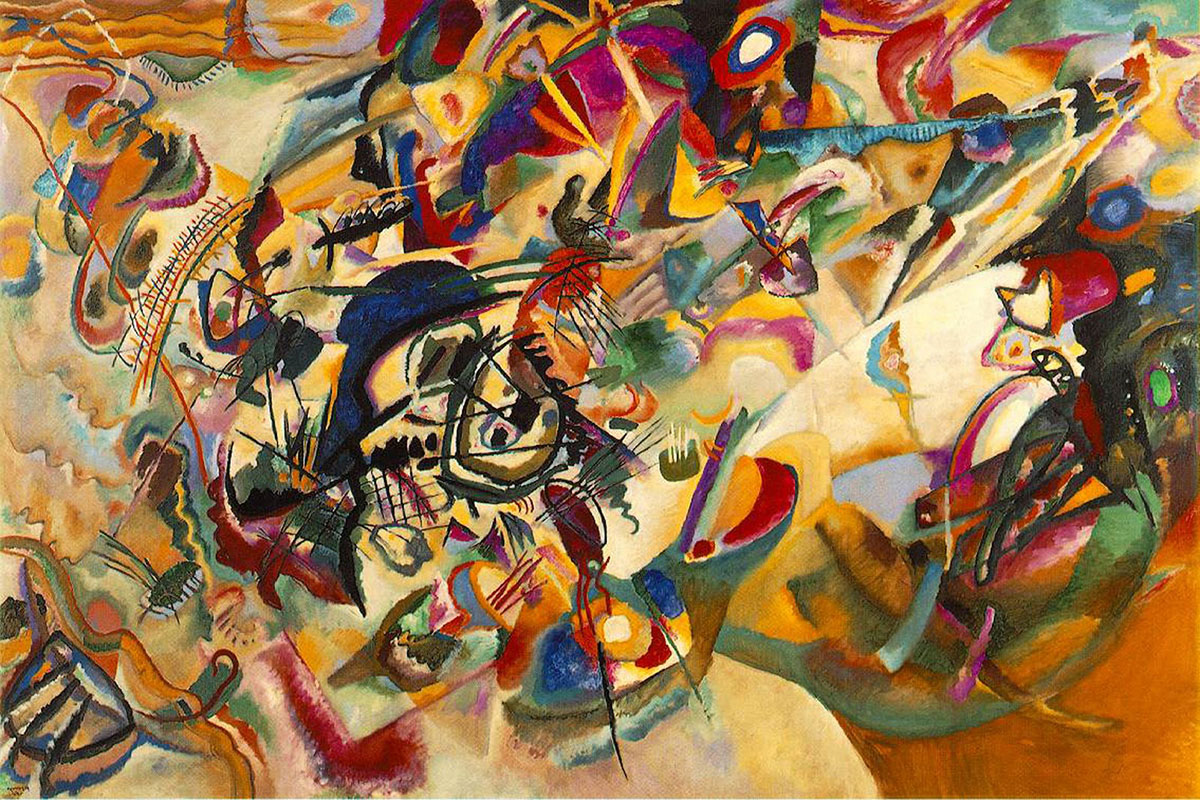a typical kandinsky composition canvas between 1913 and 1923 oozes in color like red, black and yellow circles