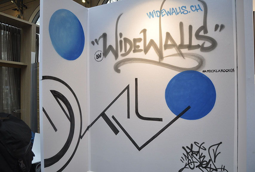 Widewalls booth at Urban Art Fair Paris 2018, painted by Mick La Rock