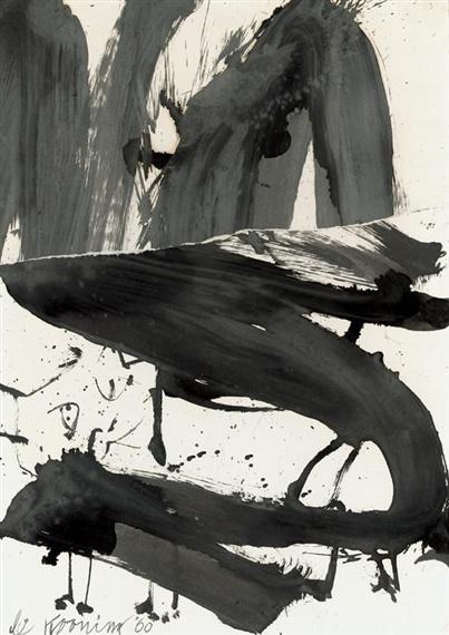 Willem de Kooning-Black and White (Rome)-1960