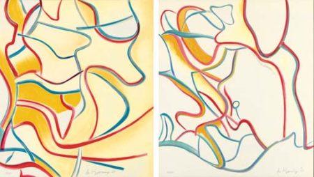 Willem de Kooning-Quatre Lithographies: Two Plates-1986