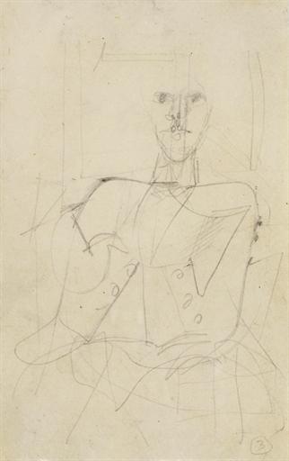 Willem de Kooning-Seated Male Figure-