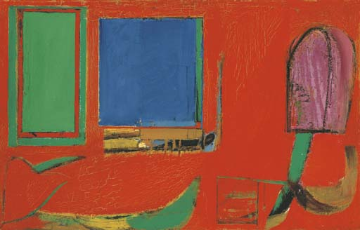 Willem de Kooning-Untitled (Red Painting with Yellow and Blue Rectangle)-1944