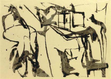 Willem de Kooning-Untitled (Abstract Painting, Enamel on Vellum)-1949