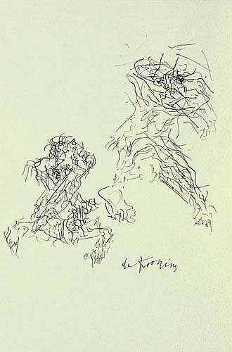 Willem de Kooning-Untitled (Two Figures Drawing)-1950