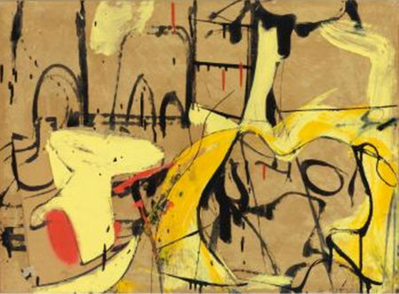 Willem de Kooning-Untitled (Black and Yellow Painting with Oil, Enamel and Paper Collage)-1951