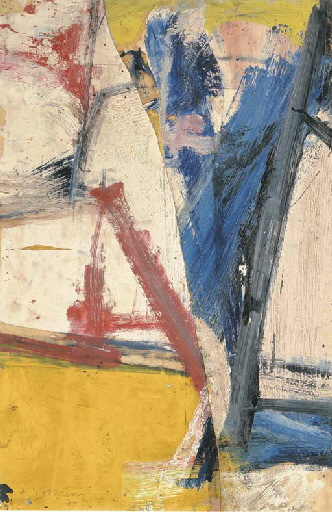 Willem de Kooning-Untitled (Blue, Red, Yellow, Black and White Abstract Painting)-1957