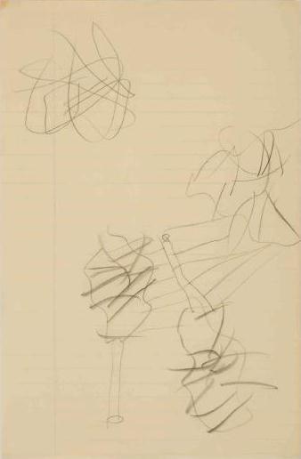 Willem de Kooning-Untitled (Figures Drawing, Graphite on Paper)-1960
