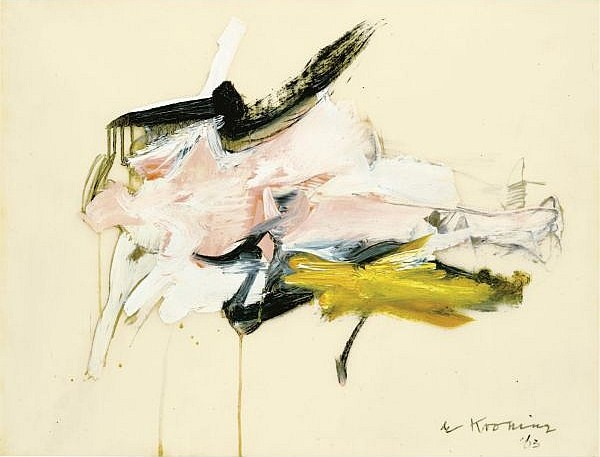 Willem de Kooning-Untitled (Abstract Painting, Oil and Pencil)-1963