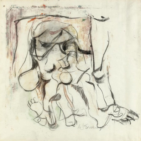Willem de Kooning-Untitled (Figure Painting, Oil and Charcoal)-1964