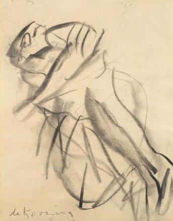 Willem de Kooning-Untitled (Figure Drawing, Charcoal on Paper)-1965
