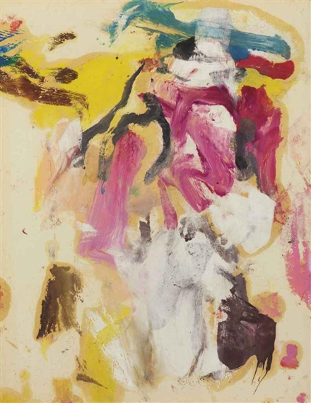 Willem de Kooning-Untitled (Abstract Painting, Oil on Paper laid on Canvas)-1967