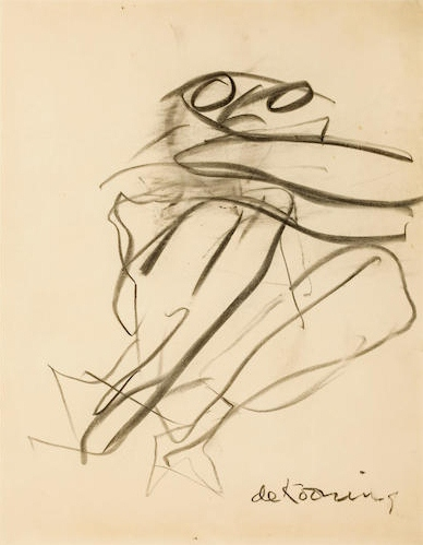 Willem de Kooning-Untitled (Figure Drawing, Charcoal on Paper)-1967